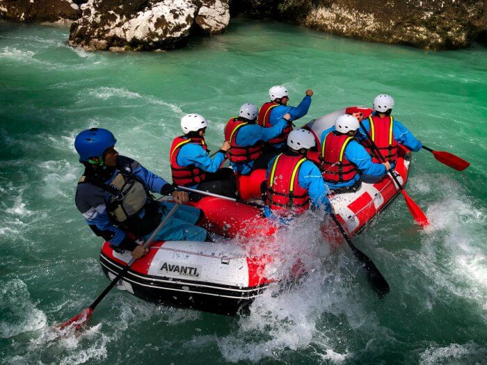 Last rapid on the whitewater rafting Section of the Soca